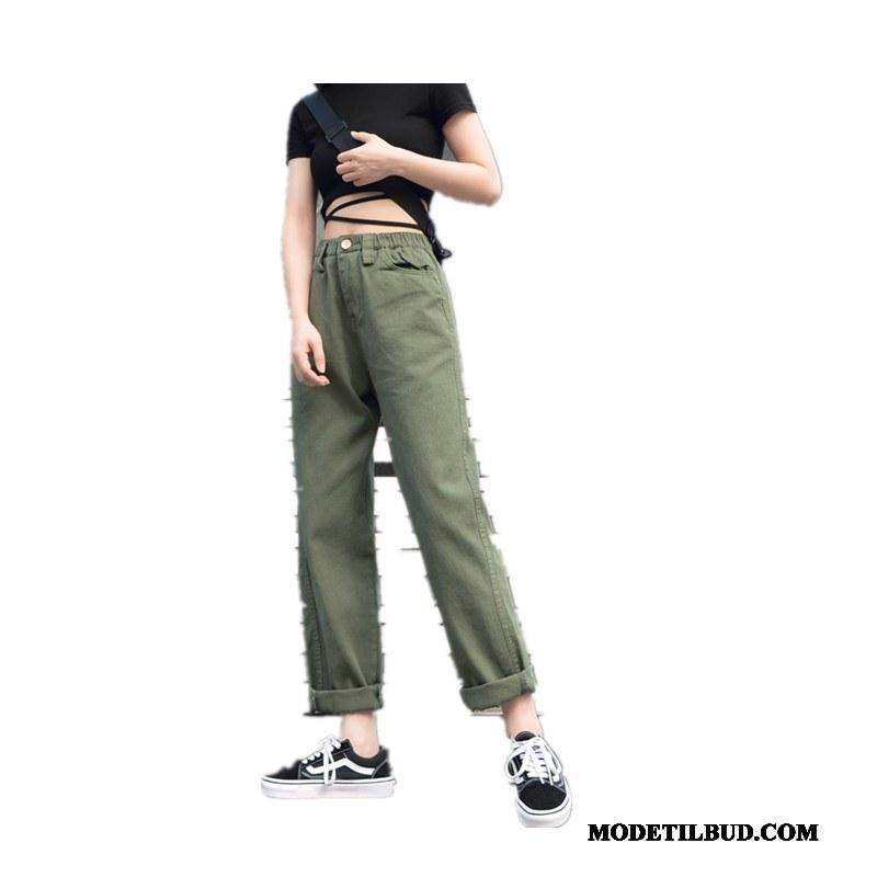 Dame Bukser Tilbud Trendy Brede Studerende Cargo Bukser Lige Militærgrøn