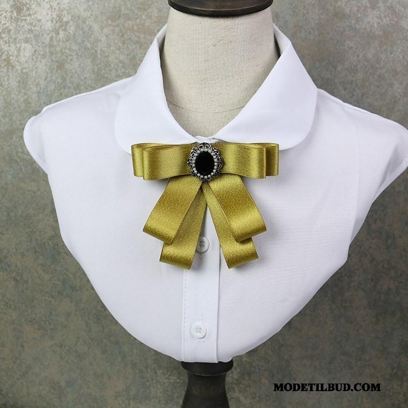 Dame Butterfly Butik Kvinder Skjorte Collar Blomst Elegante Brocher Gul