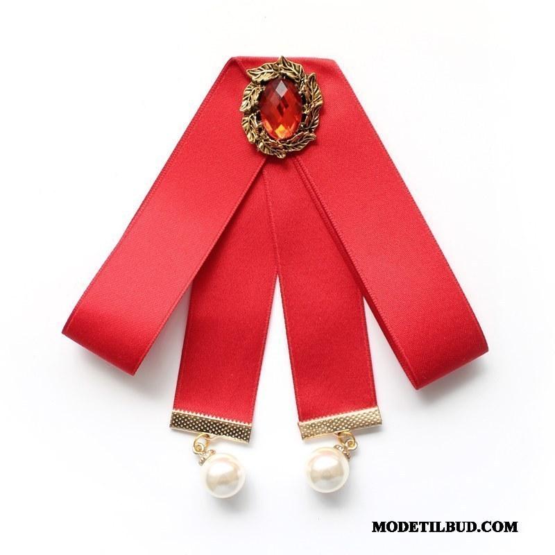 Dame Butterfly Tilbud Steward Kvinder Britisk Dekoration Collar Blomst Rød Sølv