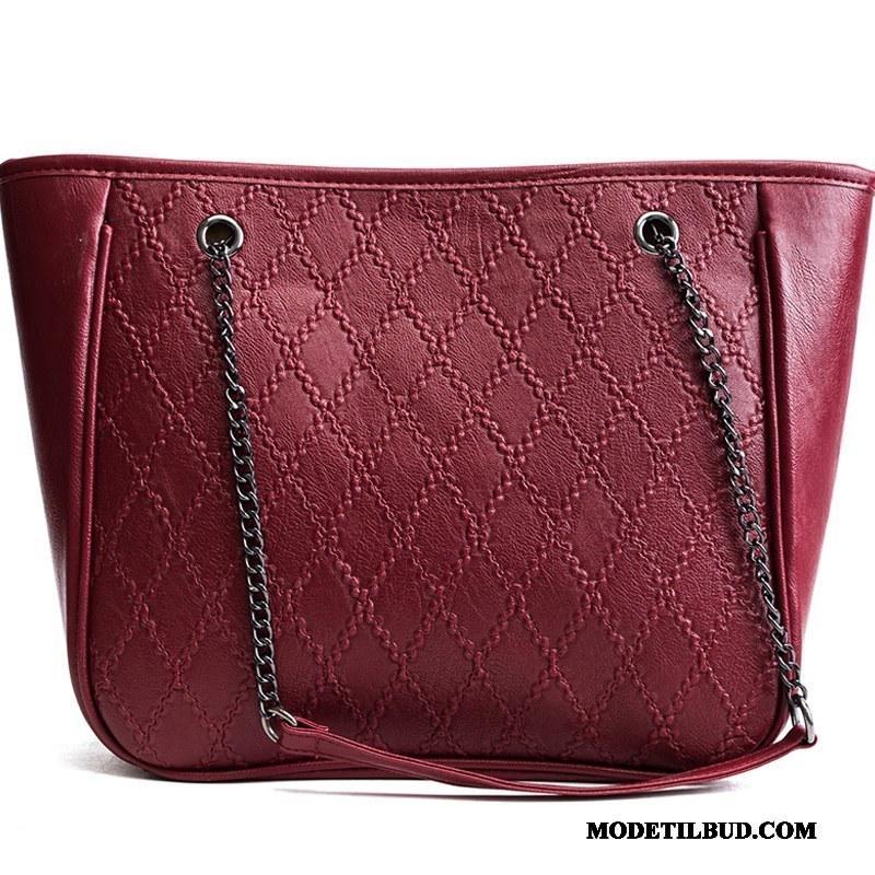 Dame Håndtasker Billige Messenger Taske 2019 Kæde Store Tasker Vintage Rød