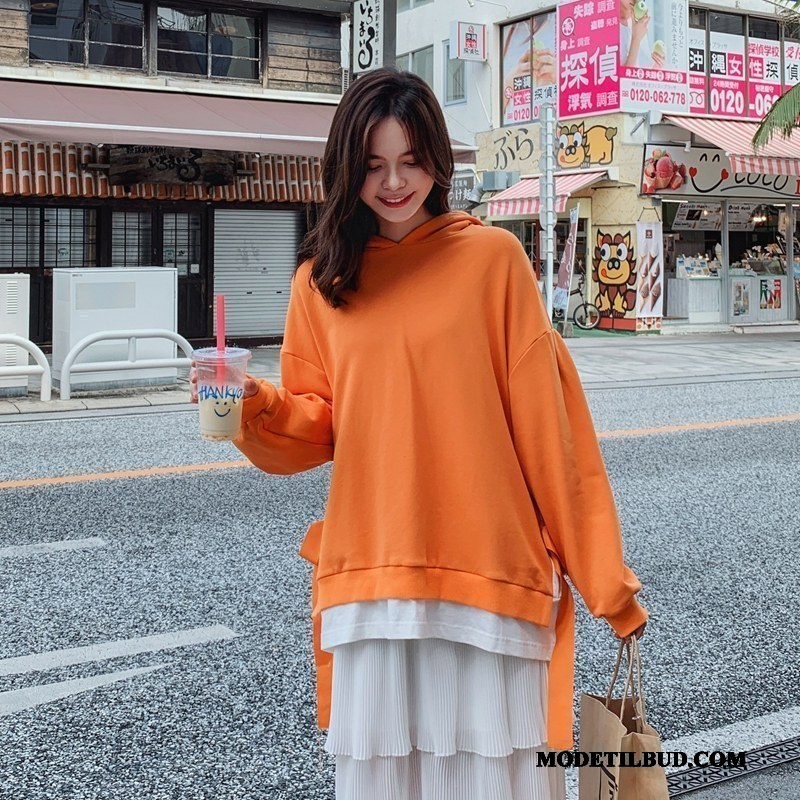 Dame Hættetrøjer Billige 2019 Kvinder Frakke Brede Trend Orange