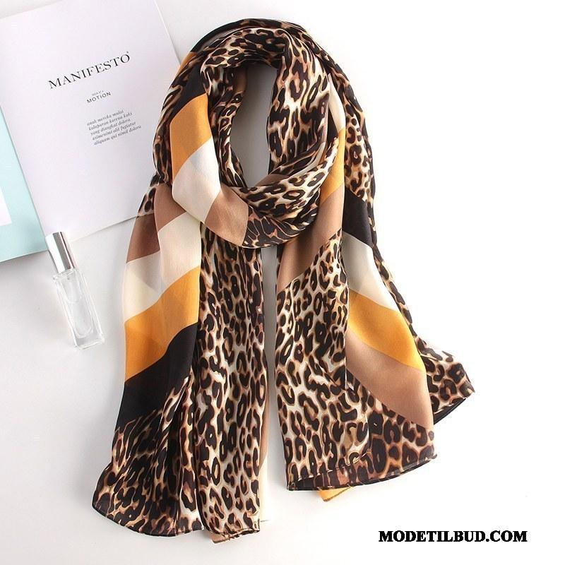 Dame Halstørklæder Billig Mode Kvinder Leopard Silke Langt Gul Brun