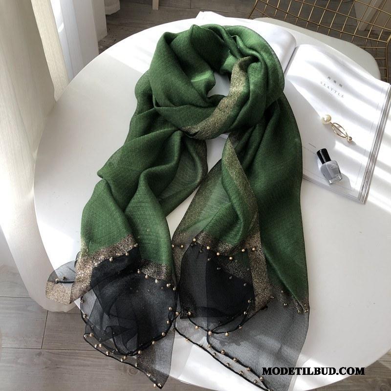 Dame Halstørklæder Rabat Silke Gave High End Alt Matcher Sjal Ren Grøn