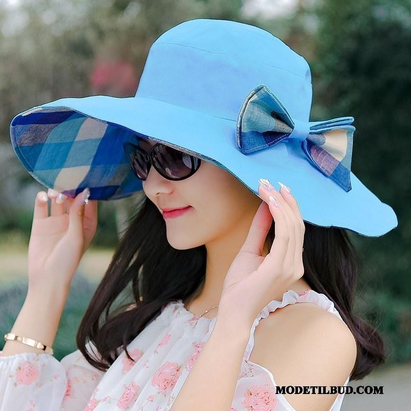 Dame Huer Rabat Solcreme Fold Solen Kvinder Stor Lilla Sand Blå