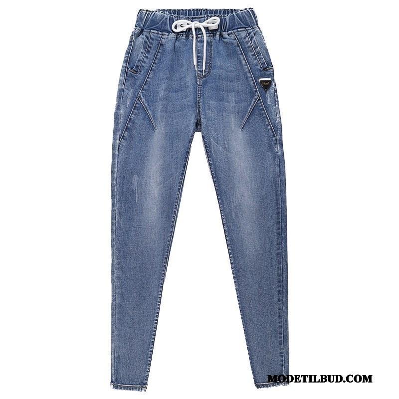 Dame Jeans Billige Brede Ny Store Størrelser Elastisk Efterår Lyseblå