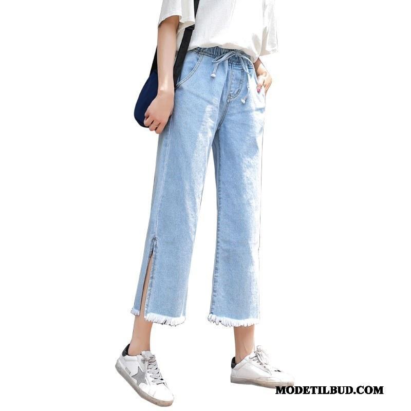 Dame Jeans Billige Ny Brede Cowboybukser Jeans Elastisk Høj Talje Lyseblå