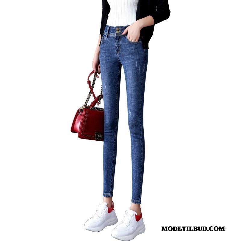 Dame Jeans Butik Forår Tynde Blyant Bukser Lille Sektion Skinny Marineblå Sort