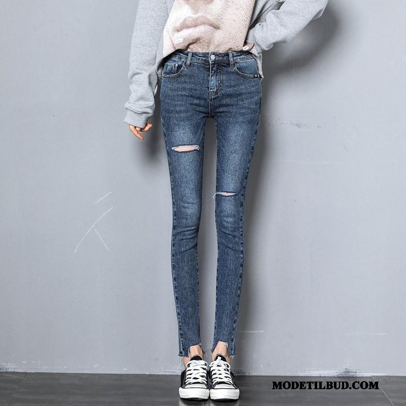 Dame Jeans Køb Cowboybukser Jeans Tynde Lille Sektion Skinny Kvinder Grå Blå