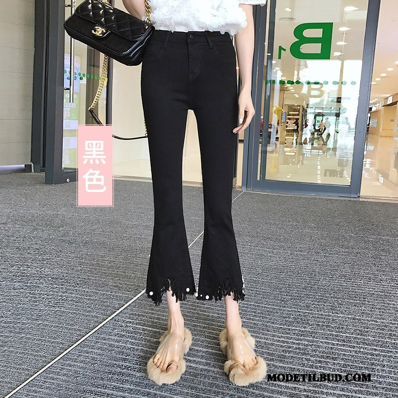 Dame Jeans Online Cowboybukser Jeans Kvinder Tynde Flared Tassel Sort
