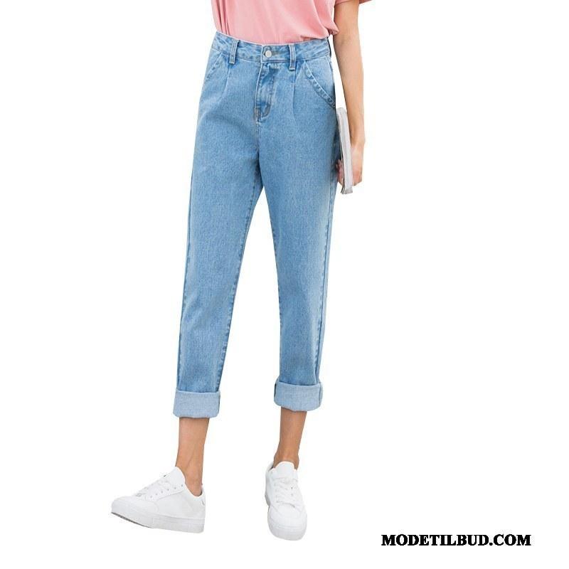 Dame Jeans Online Kvinder Cowboybukser Jeans Lige Tynde 2019 Lyseblå
