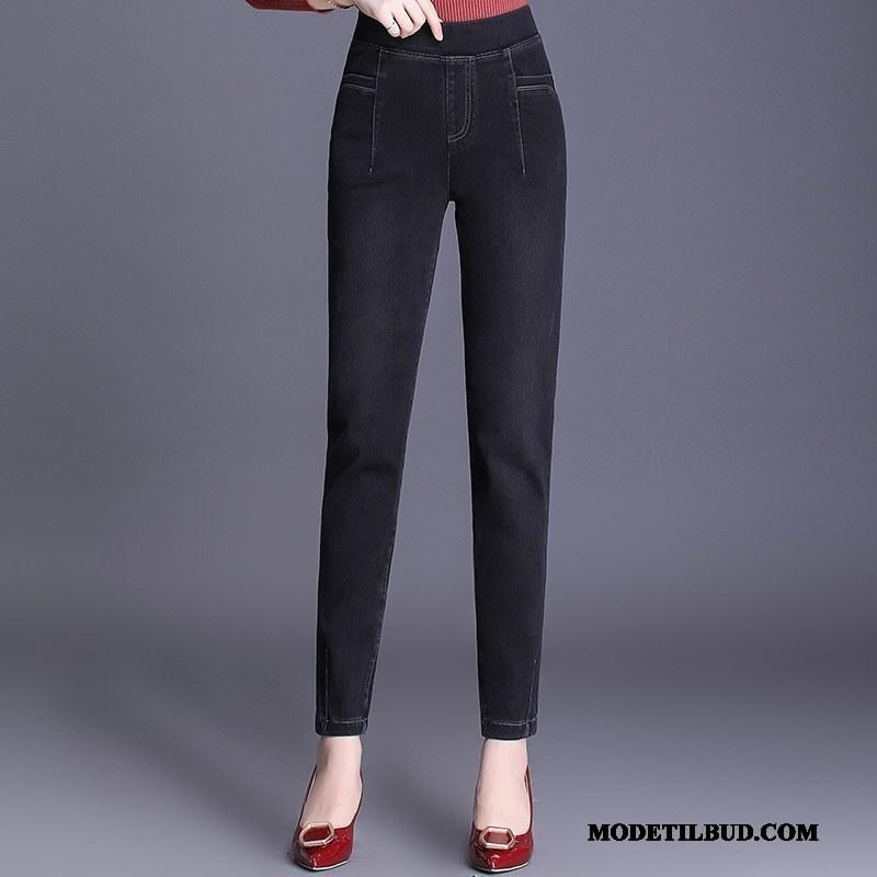 Dame Jeans På Udsalg Bukser Tynde Store Størrelser Forår Høj Talje Sort