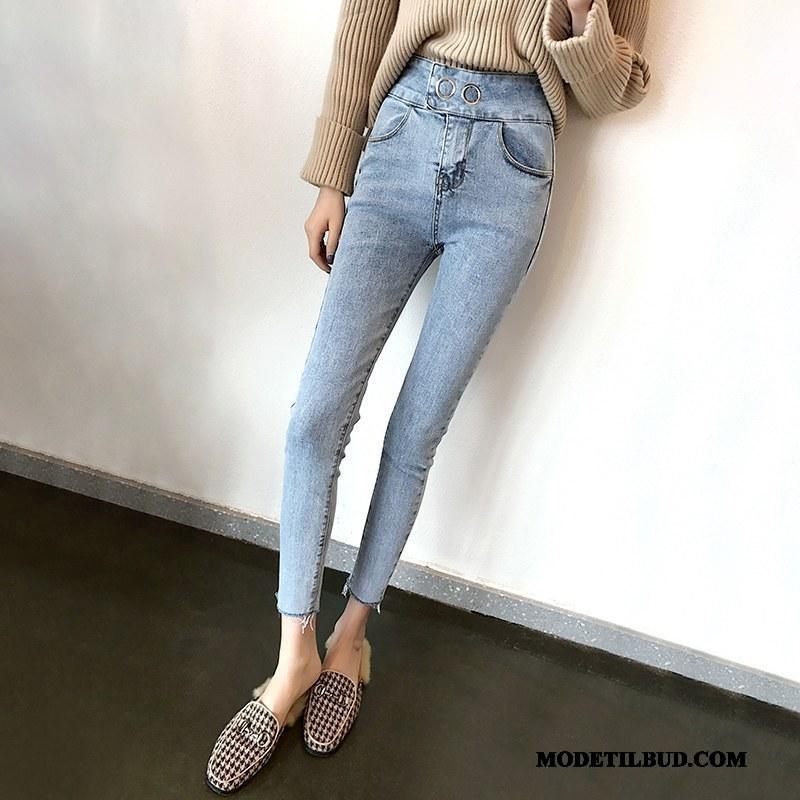 Dame Jeans På Udsalg Forår Efterår Cowboybukser Jeans Tynde Skinny Lyseblå Rød Blå