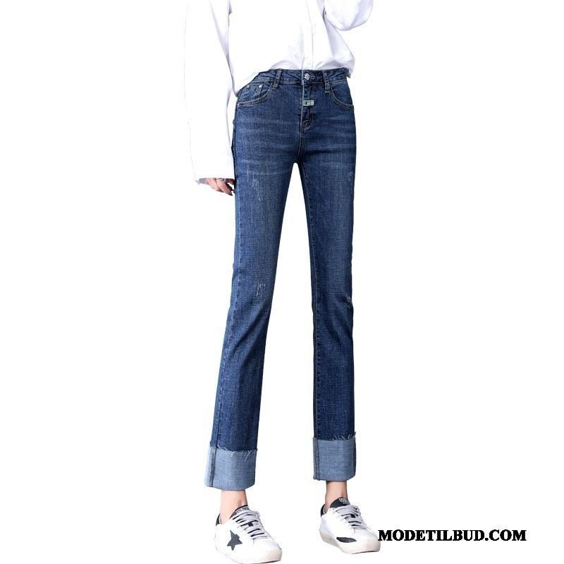 Dame Jeans Tilbud Cowboybukser Jeans Vintage Efterår Tynd Høj Talje Marineblå
