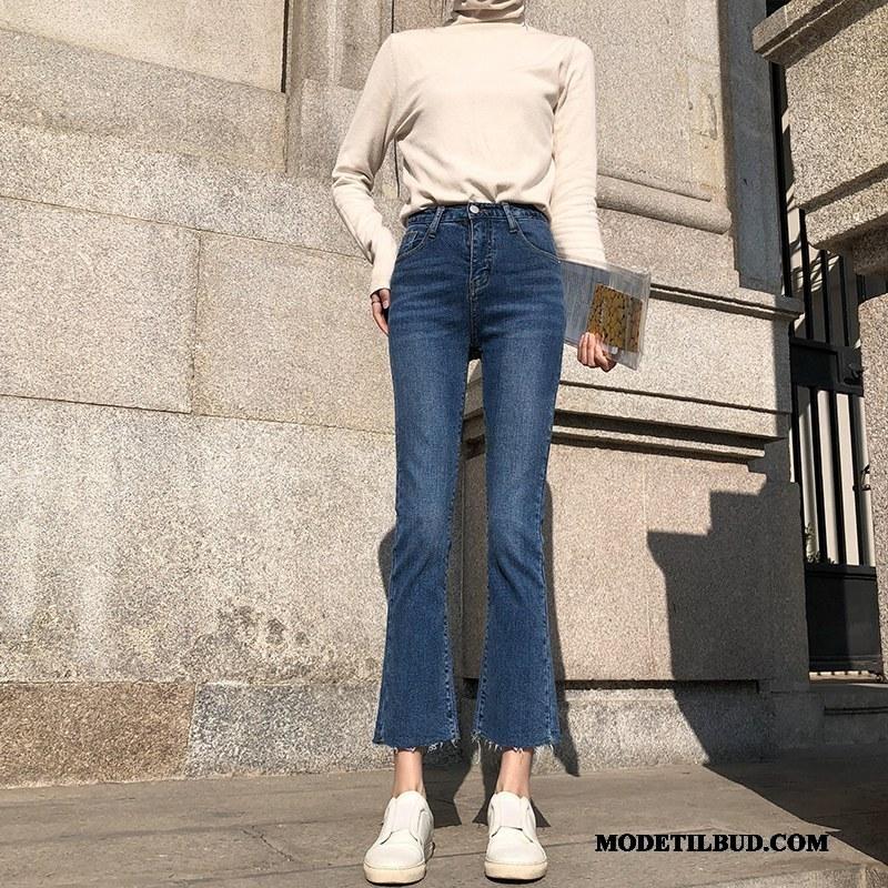 Dame Jeans Tilbud Forår Cowboybukser Jeans Tynde Flared Kvinder Marineblå
