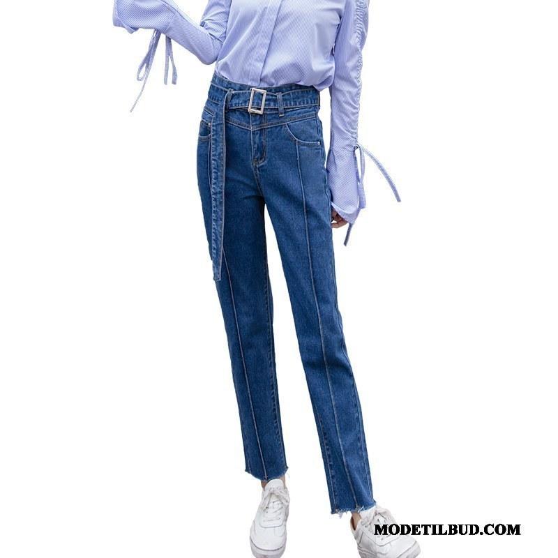 Dame Jeans Tilbud Forår Høj Talje Cowboybukser Jeans Trend 2019 Marineblå