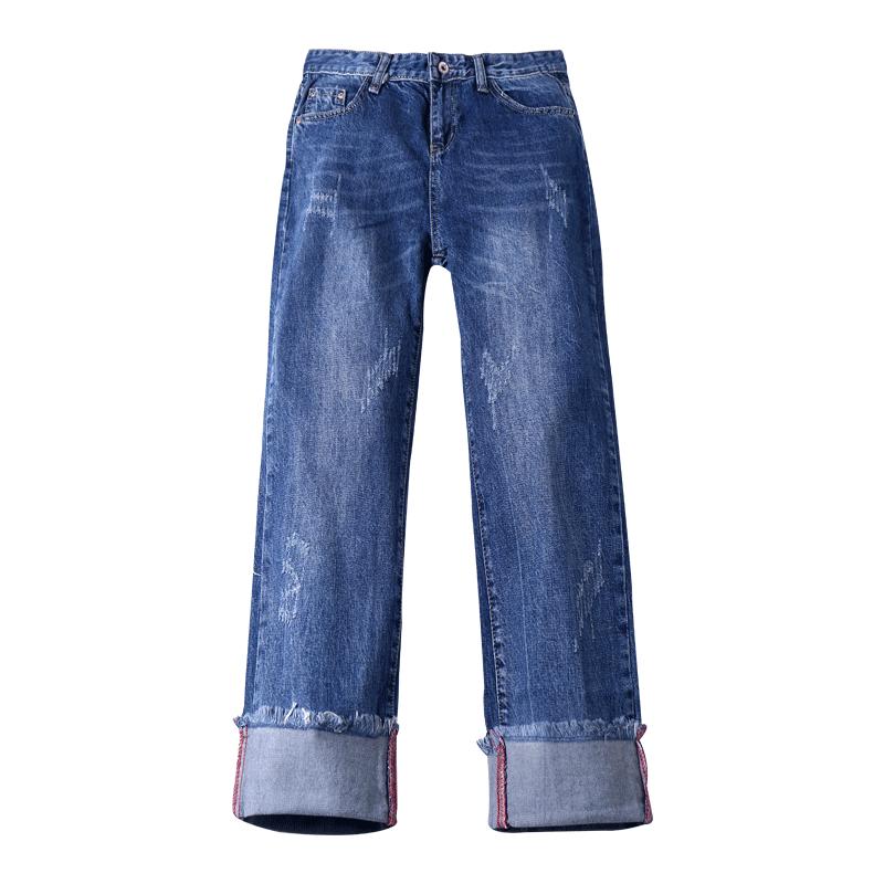 Dame Jeans Udsalg Brede Studerende Ny Cowboybukser Jeans Lige Blå