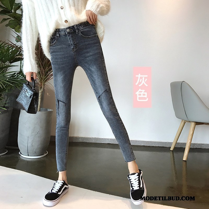 Dame Jeans Udsalg Skinny Cowboybukser Jeans Kvinder Tynde Gribe Mønster Grå
