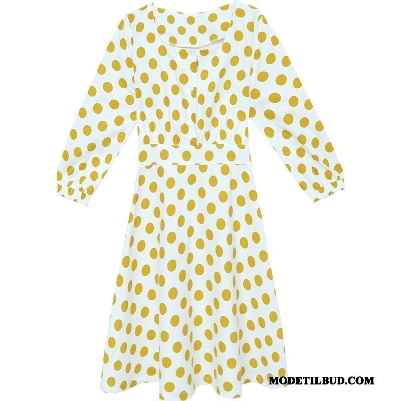Dame Kjoler Billig 2019 Ny Lange Mode Slim Fit Gul