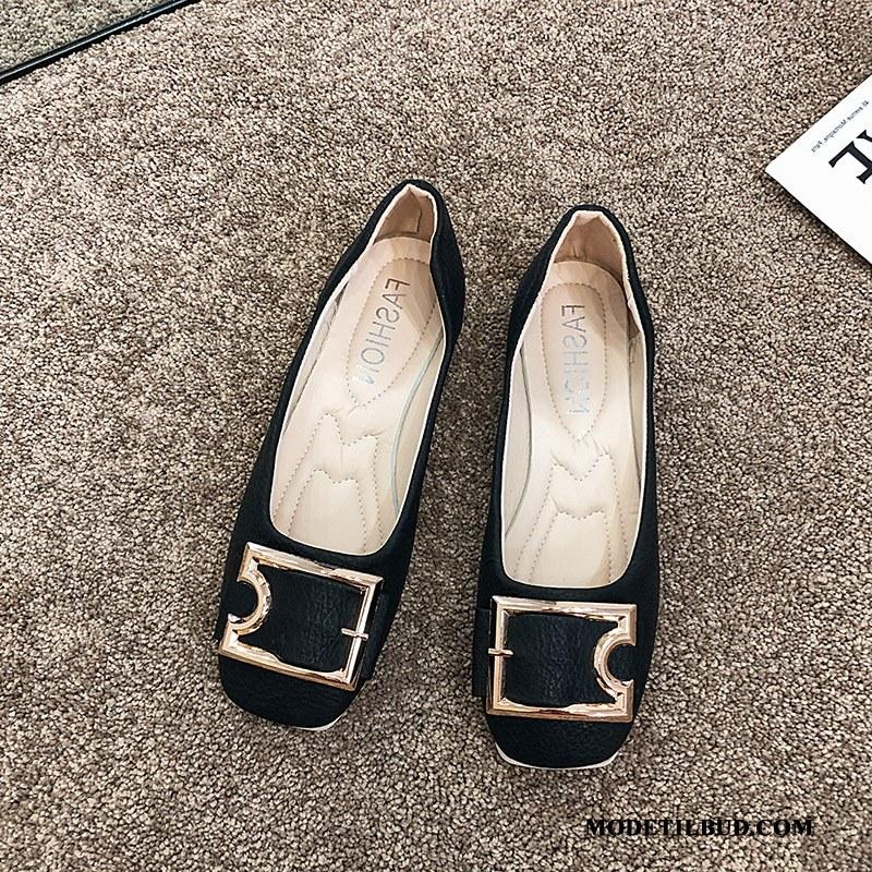 Dame Mokassiner Billige Mokkasin Mode Kvinder Enkelt Sko Flade Sort Guld Lyse