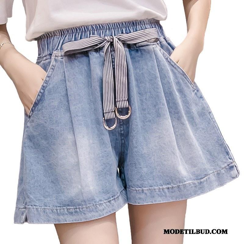 Dame Shorts Billige Mode Butterfly Sommer Elastisk Studerende Lyseblå
