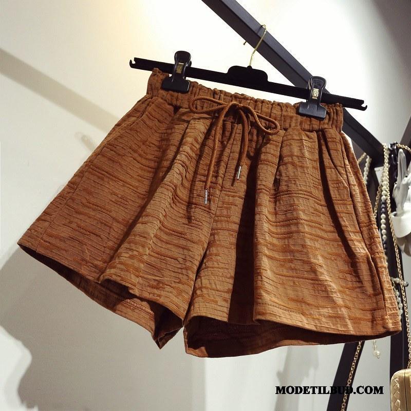 Dame Shorts Billige Tynde Fritids Hot Bukser Store Størrelser Brede Brun Lyse