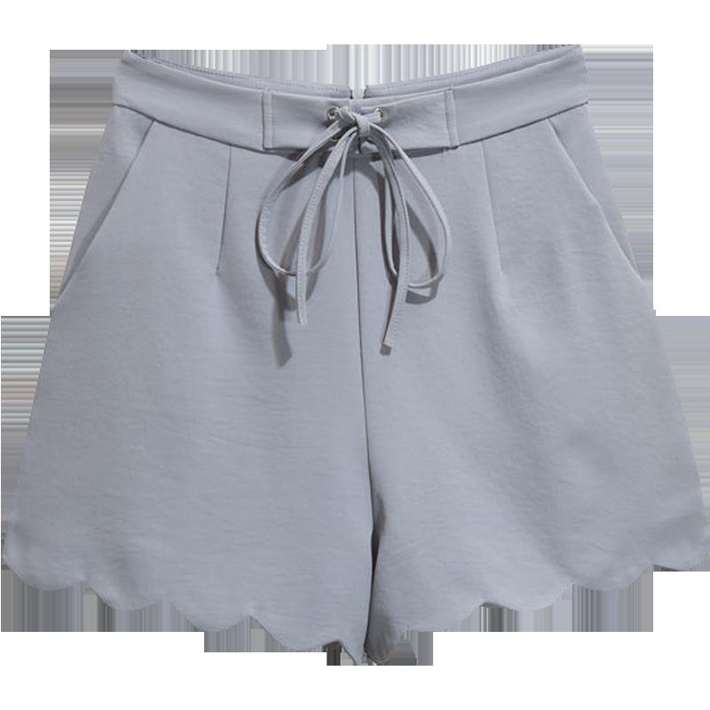 Dame Shorts Udsalg Fritids Mode Bølger Høj Talje Brede Grå