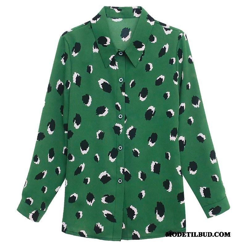Dame Skjorter Billige Kvinder Design Jakke Chiffon Lille Sektion Grøn