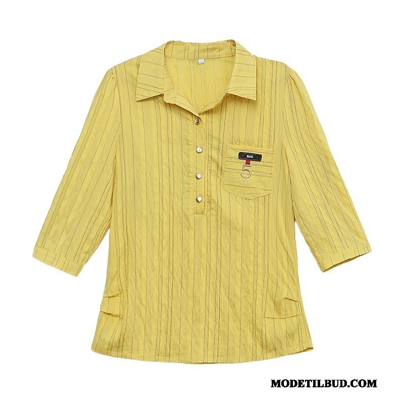 Dame Skjorter Tilbud 2019 Ny Slim Fit Bluser Skjorter Tynde Gul