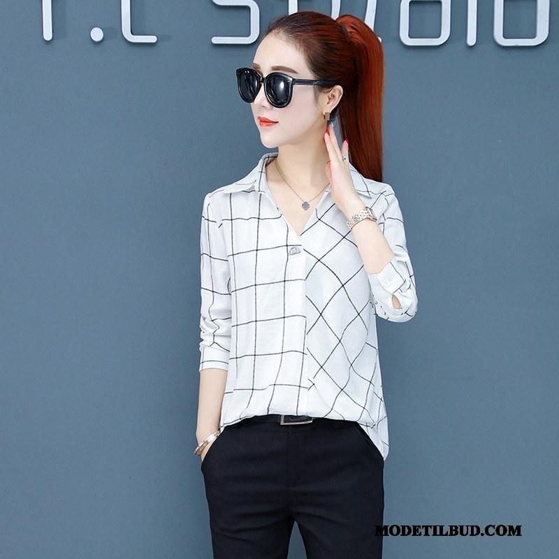 Dame Skjorter Tilbud Bluser Skjorter Ny Mode Ternede Revers Hvid