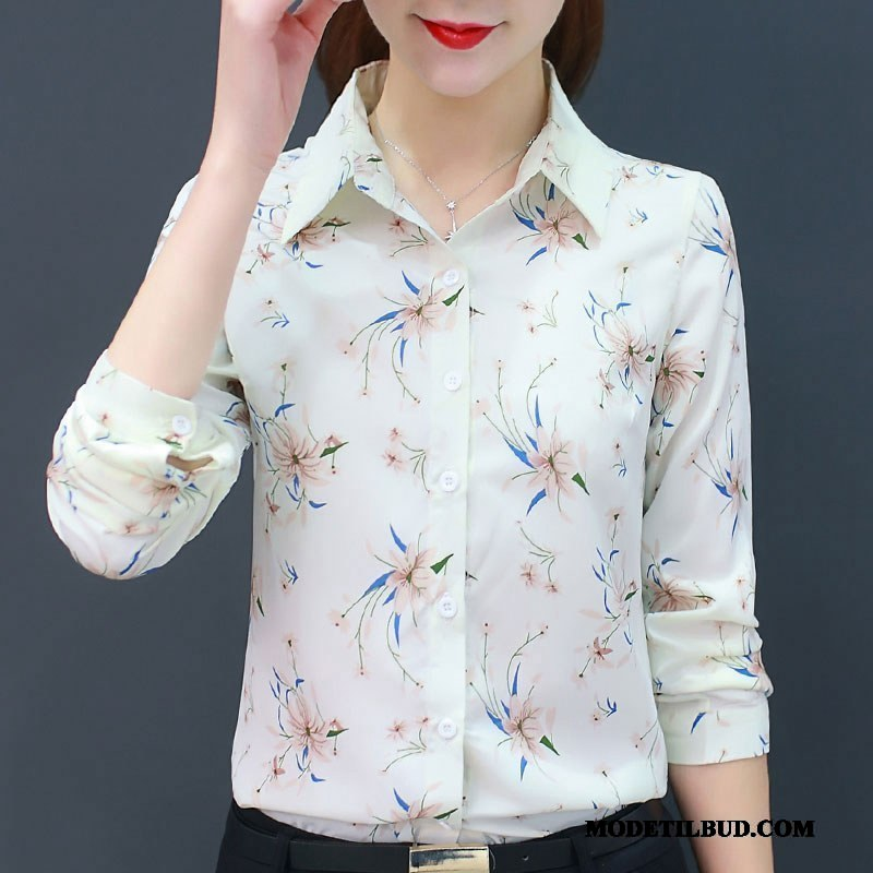 Dame Skjorter Tilbud Forår Ny Mode Blomster Vintage Hvid