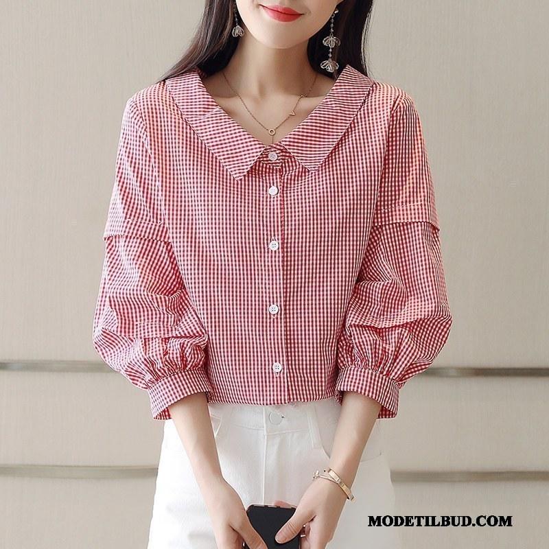 Dame Skjorter Udsalg Elegante V Krave Tynde Forår Mode Lyserød Rød