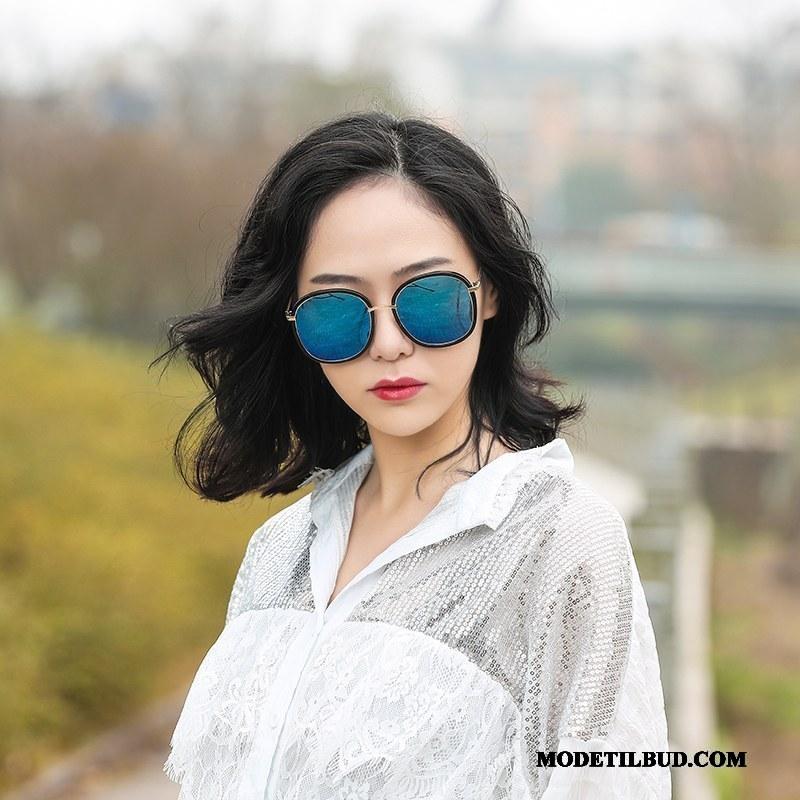 Dame Solbriller På Udsalg Mesh Runde Ansigt Ny Kvinder Street Fotografering Lilla Rød Blå