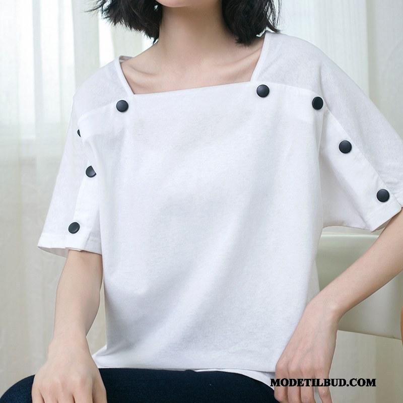 Dame T-shirts Billige Brede Kort Ærme Bomuld Kvinder Store Størrelser Ren Hvid