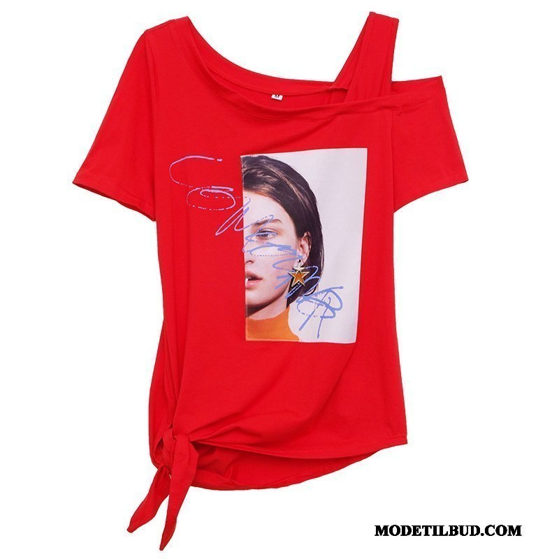 Dame T-shirts Billige Kort Ærme Fritids Stropløs Kvinder Jakke Rød