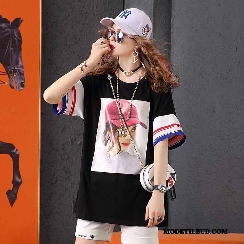 Dame T-shirts Køb Trendy Tryk Mode Lange Brede Hvid Sort