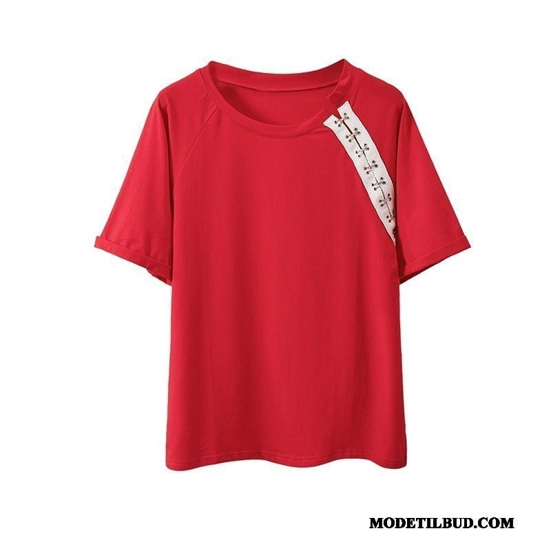 Dame T-shirts På Udsalg Brede Studerende Kort Ærme Jakke Trend Ren Rød