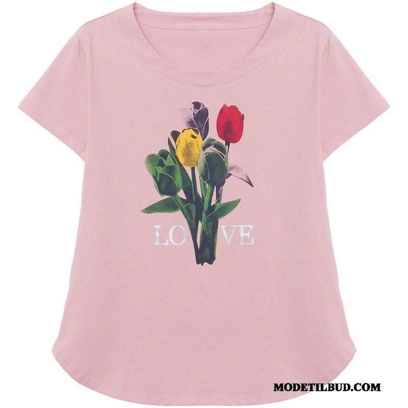 Dame T-shirts Rabat Kort Ærme Jakke Kvinder Mode Forår Lyserød