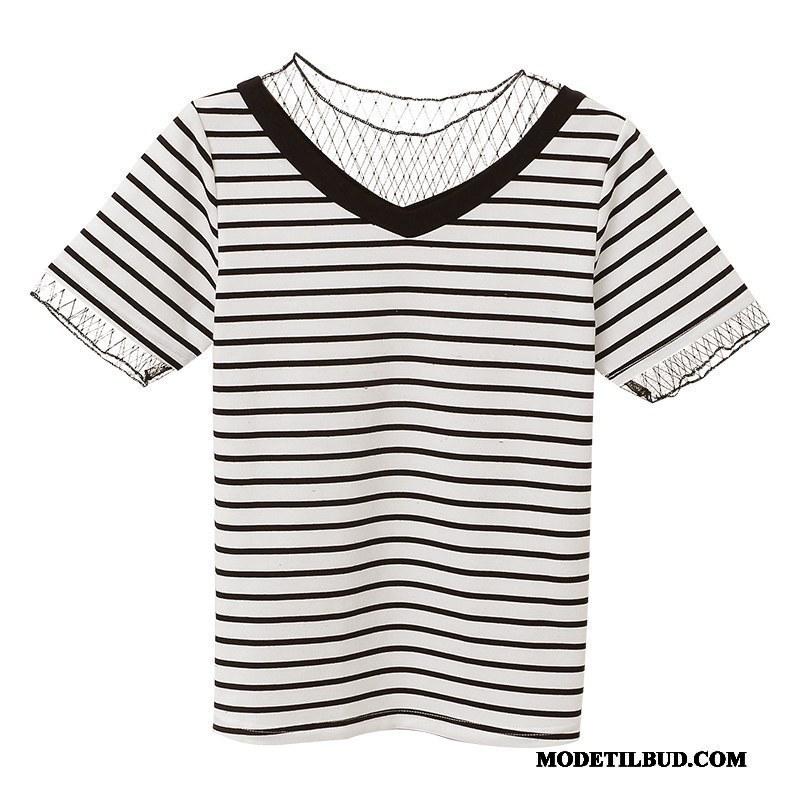 Dame T-shirts Rabat Trend Studerende Sommer Bomuld Stribede Hvid