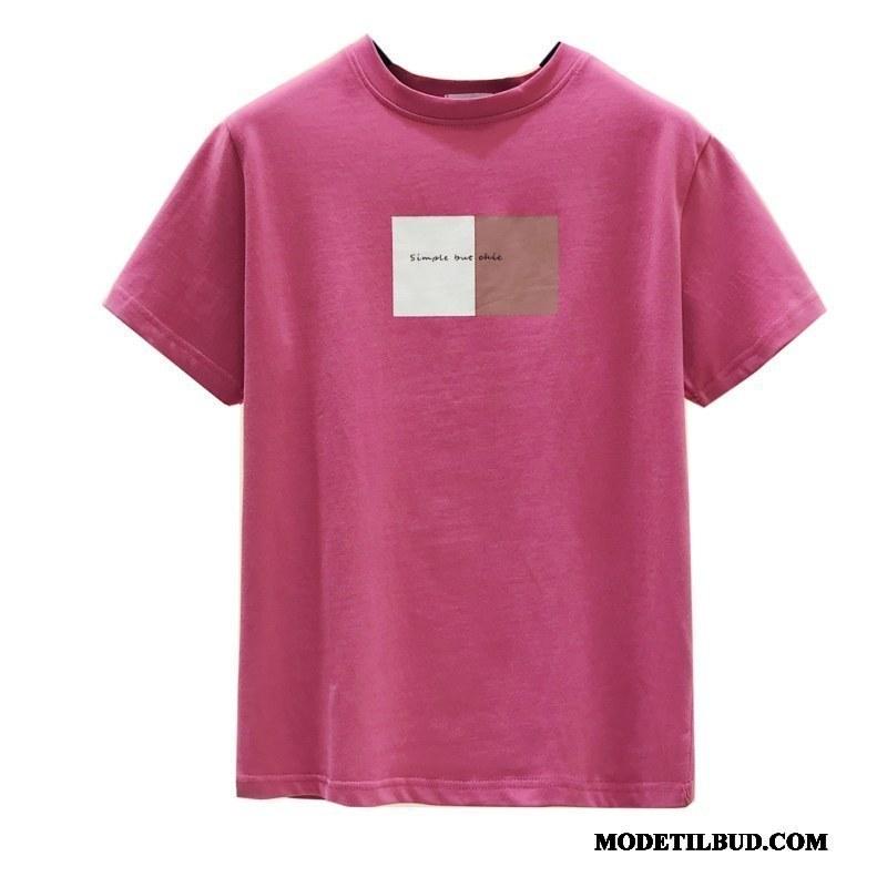 Dame T-shirts Tilbud Brede 2019 Kvinder Alfabet Undertrøje Rødvin