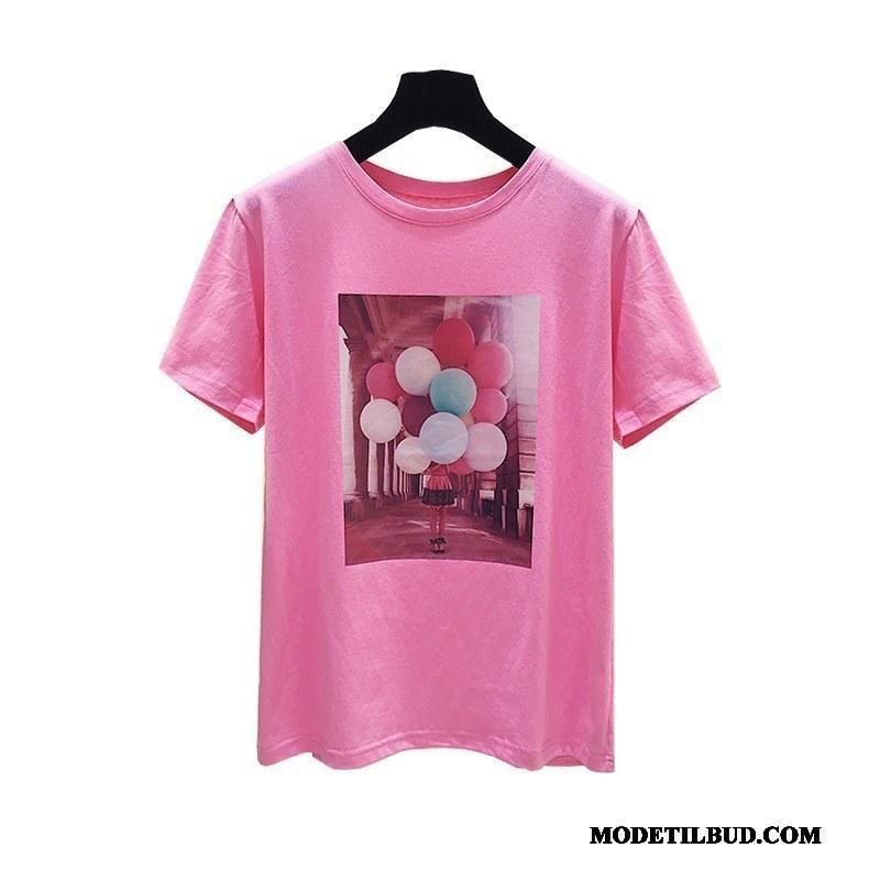 Dame T-shirts Tilbud Kort Ærme Jakke Sommer Kvinder Brede Pink Hvid