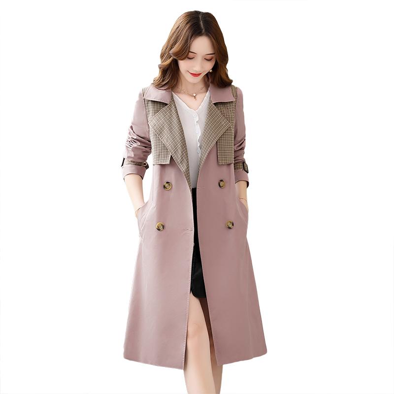 Dame Trenchcoat Billige Lille Sektion Kvinder 2019 Mode Frakke Lyserød
