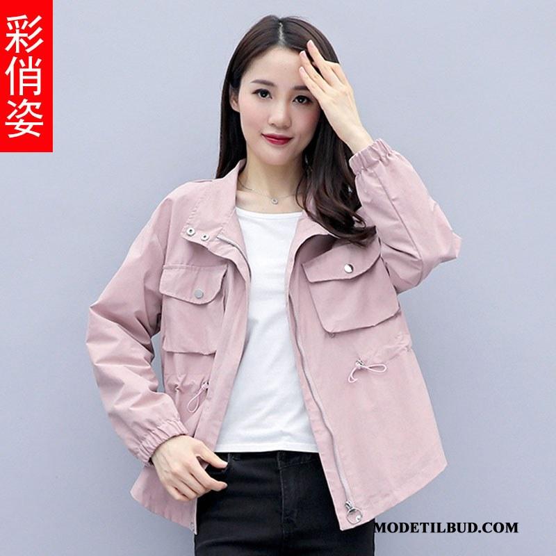 Dame Trenchcoat Butik Jakke Brede Frakke 2019 Kvinder Pink