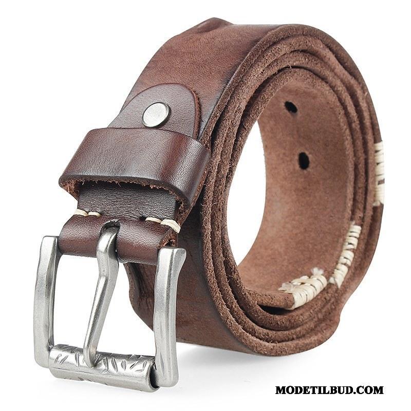 Herre Bælter Køb Casual Ægte Læder Personlighed Cowboybukser Læder Top Cyan Mørk