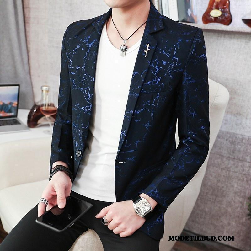 Herre Blazere Køb Mode Unge Frakke Trend Slim Fit Cyan Blå