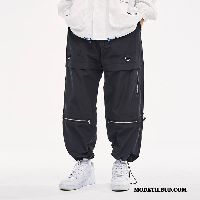 Herre Cargo Bukser Billige Casual Bukser Dekoration Brede Lynlås Trend Ren Sort