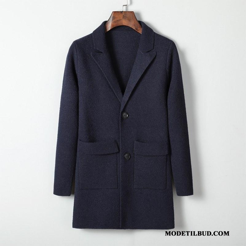 Herre Frakker Køb Mænd Uldfrakker Strikning Fritids Mode Blå