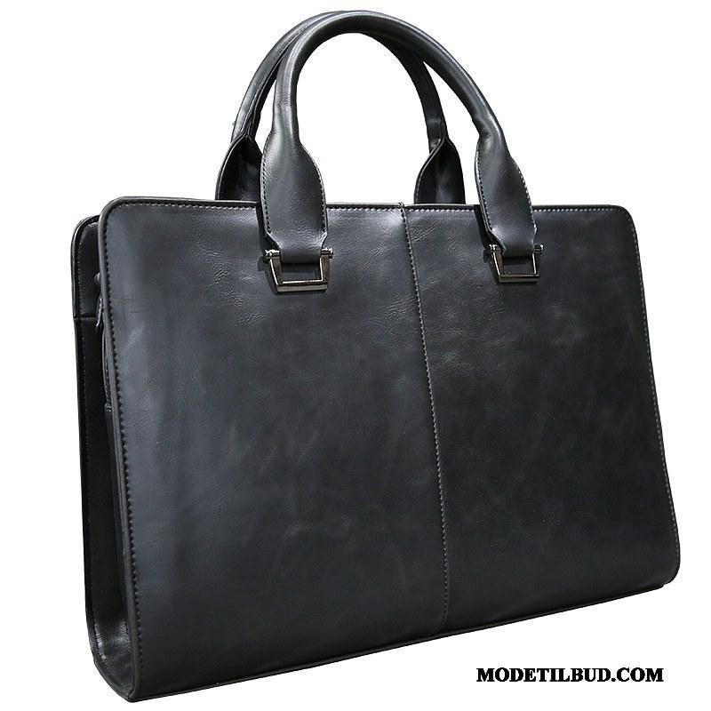 Herre Håndtasker Billige Casual Læder Mænd Rygsæk Computertaske Sort