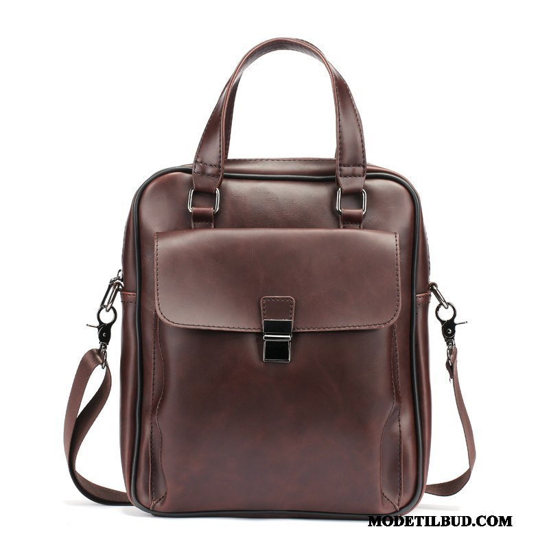 Herre Håndtasker Billige Rejsetaske Vintage Lys Skuldertaske Lodret Brun Cyan