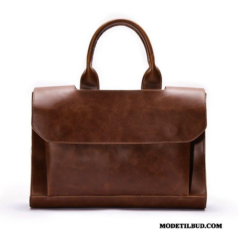 Herre Håndtasker På Udsalg Messenger Taske Læder Skuldertaske Vintage Business Brun