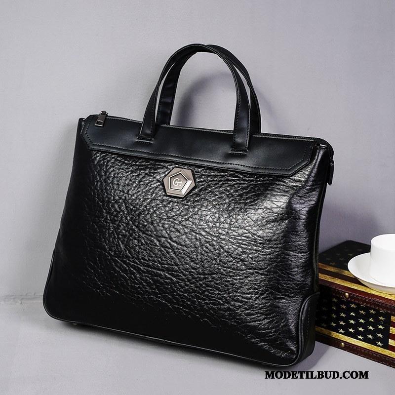 Herre Håndtasker På Udsalg Ny 2019 Mode Forretningsrejse Casual Sort Cyan